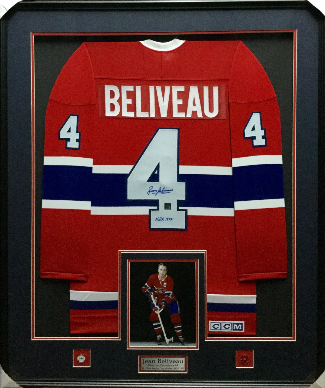 buy popular 4e1e5 af601 Jean Beliveau Montreal Canadiens Signed Framed Jersey