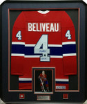 Jean Beliveau Montreal Canadiens Signed Framed Jersey