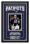 Collectable 11x14 Framed Photograph featuring: Tom Brady of the New England Patriots. This item is a limited edition of 112 with facsimile autograph. This piece of memorabilia measures 34 x 24 inches and is museum framed. Own this Piece of Football History!