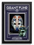 Grant Fuhr Signed Etched Glass 11x14 Edmonton Oilers Mask Photo