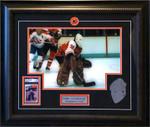 Pelle Lindbergh Signed Philadelphia Flyers Rookie Card Framed with Etched Mask