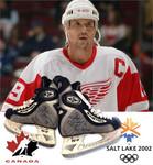 Steve Yzerman Signed Game Used Skates with 2002 SLC Inscription