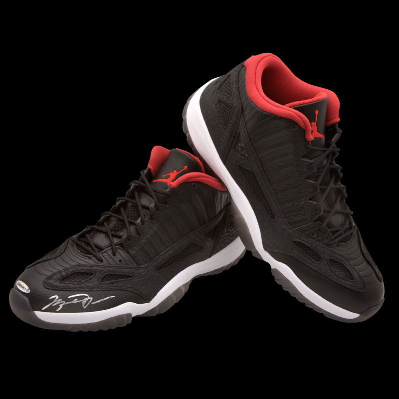 cb454bfc641f Michael Jordan Autographed Air Jordan Black Low XI Shoes UDA. Image 1.  Loading zoom