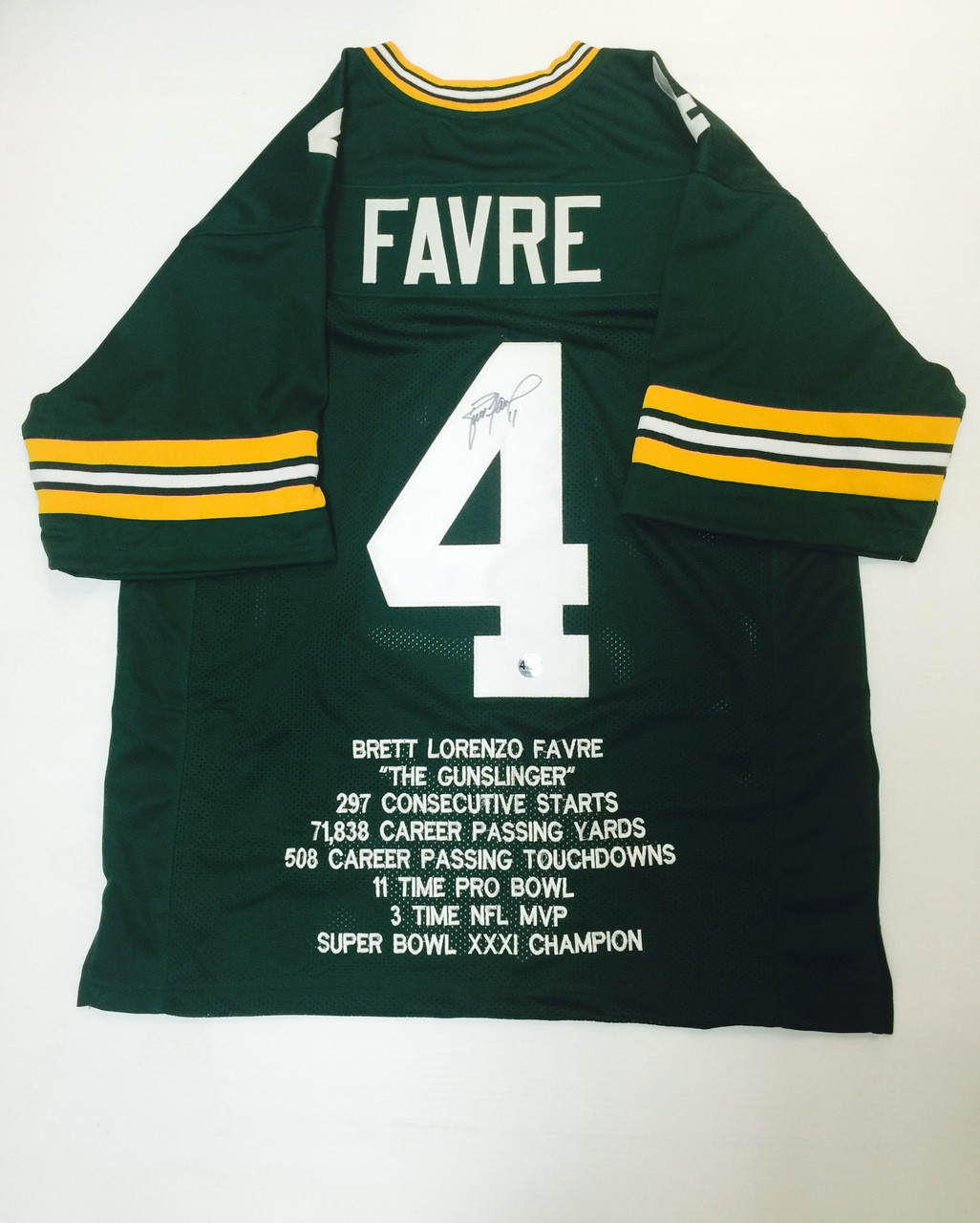 huge selection of 2af09 a7120 Brett Favre Signed Green Bay Packers Stats Jersey