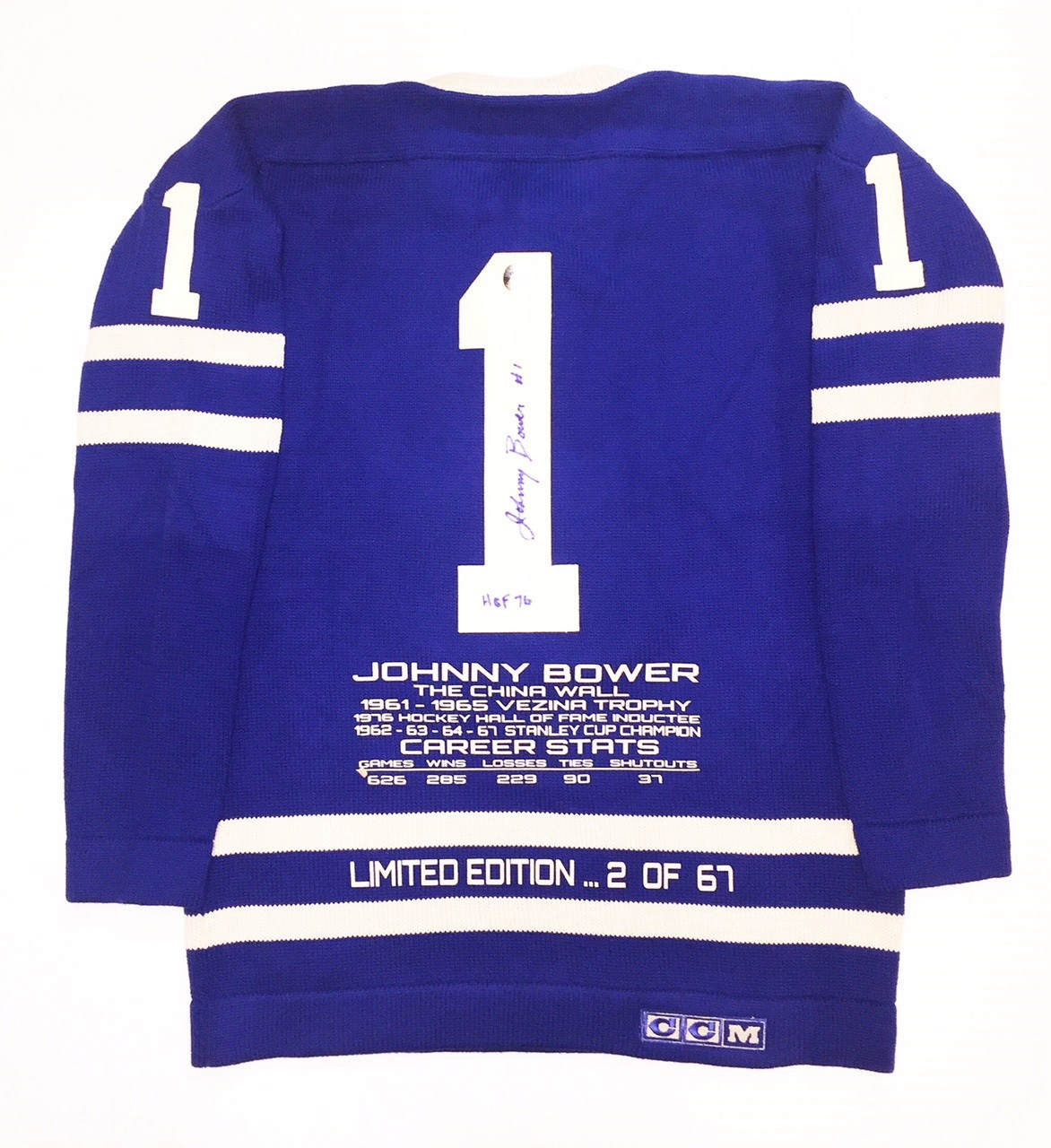 new photos 8f1ea 613b8 Johnny Bower Signed Limited Edition Stats Toronto Maple Leafs Vintage Wool  Jersey