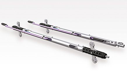 Photo of the Model 6100D Digital Inclinometer Probe, a reel-mounted cable and a Field PC.