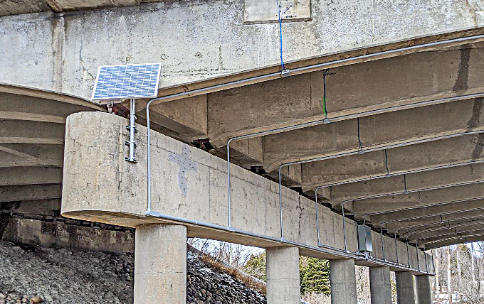 Photo of an overpass with Structural Health Monitoring.