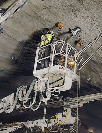 Photo of worker installing GEOKON instrumentation