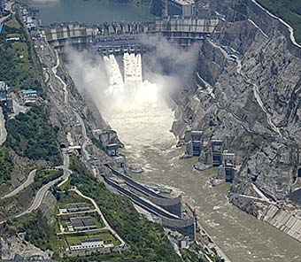 Photo of the Xiluodu Hydropower Plant.