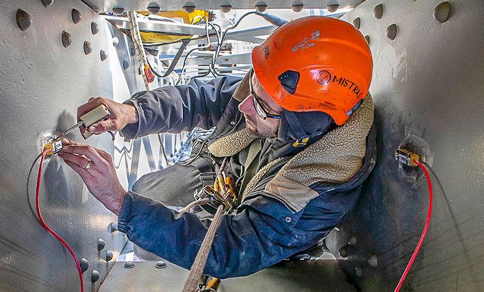 Photo of Model 4100 Spot Weldable Strain Gauge installation