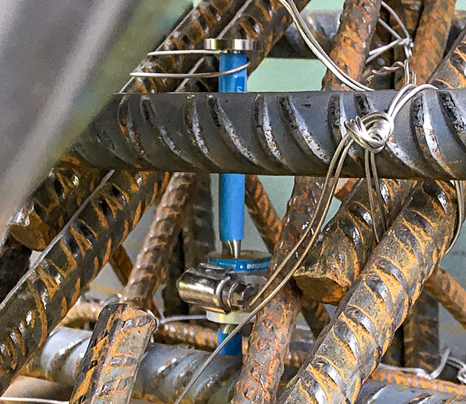 Photo of Model 4200 Concrete Embedment Strain Gauge installation