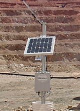 Photo of solar powered de-watering well solution.