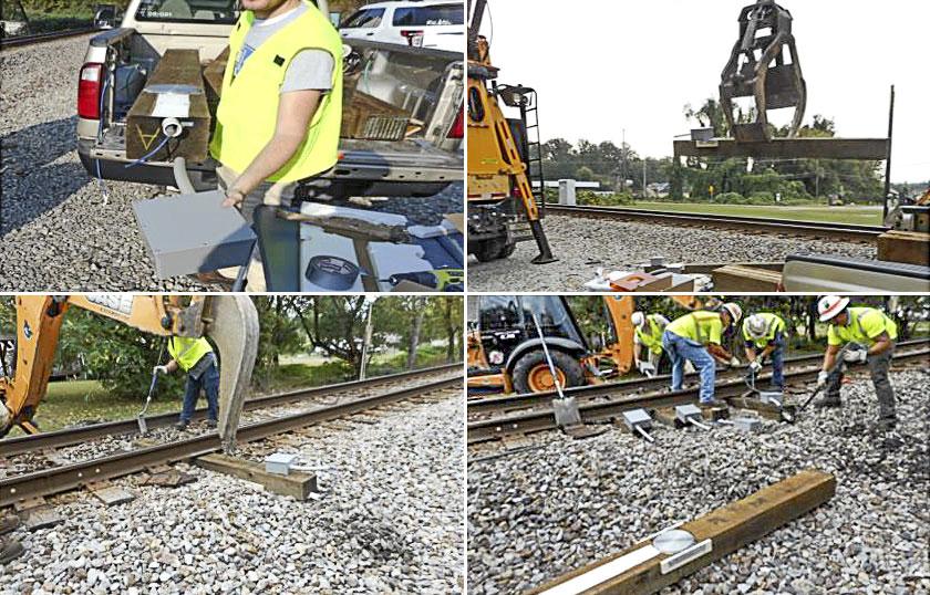Photo of railway workers.