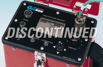 Close-up of Model GK-403 Vibrating Wire Readout Box control panel (this product has been discontinued).