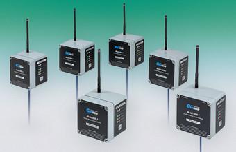 Model 8800-2 Network Supervisor (center), surrounded by five Model 8800-1 Sensor Nodes.
