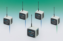 Model 8800-NA-SUP-USB Mesh Supervisor (center), surrounded by three Model 8800-NA-01C-CBL Single-Channel VW Mesh Nodes (left) and one Model 8800 Addressable Mesh Node (right).