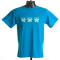 "LADIES T-shirt  ""Bells in the Garden"" (sapphire & mint green)"