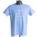"""T-shirt  """"Lord, Make Me an Instrument of Thy Peace"""" (California blue & coral)"""