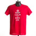 "T-shirt ""Keep Calm & Ring On"" (red & purple)"