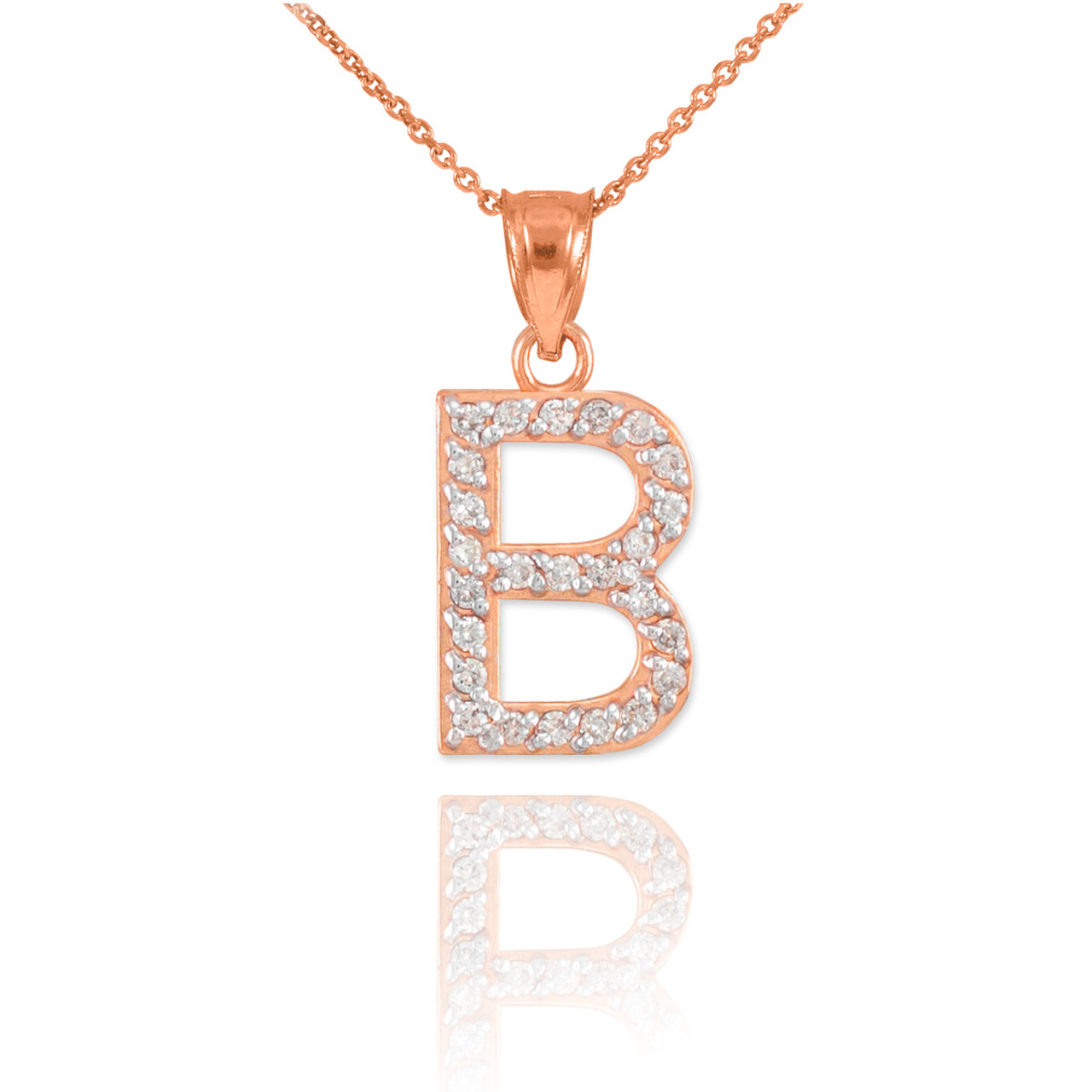 Rose gold letter quotbquot diamond initial pendant necklace for Rose gold letter charms