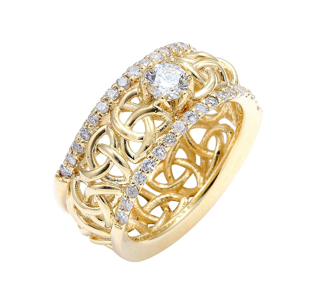 Celtic Trinity Love Knot Diamond Wedding Ring
