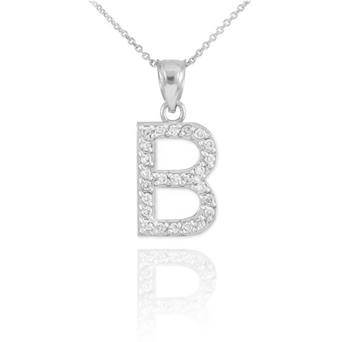 "White Gold Letter ""B"" Diamond Initial Pendant Necklace"