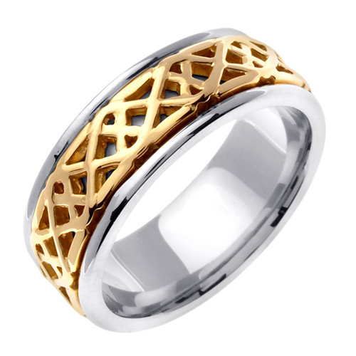 wedding band 14k gold saighead or two tone ring