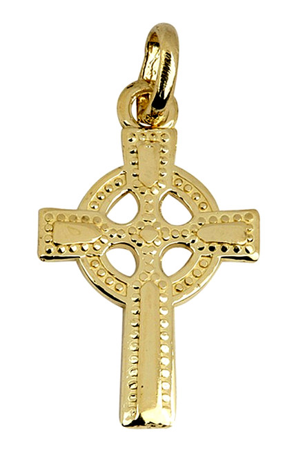 Large Gold Celtic Polished Cross Pendant from CladdaghGold.com - image