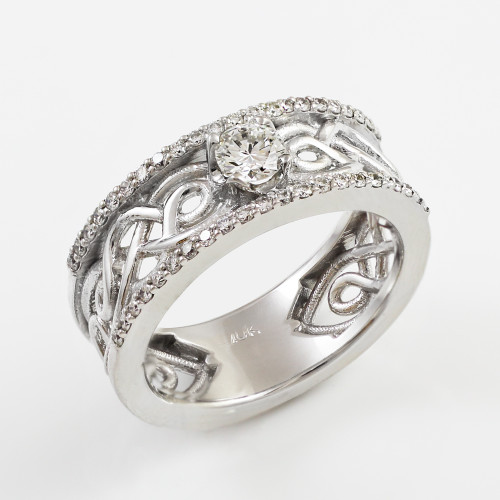 pagan wedding rings white gold celtic knot wedding engagement ring 6356