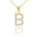 "Gold Letter ""B"" Diamond Initial Pendant Necklace"