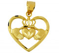 Gold Claddagh Pendant in Heart of Gold