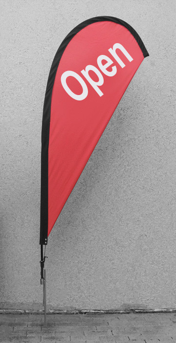 Red OPEN Teardrop Flag