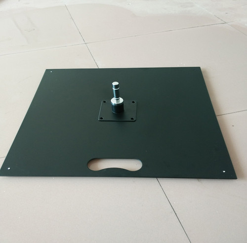 Flat Square Base supports the flag and pole from blowing over.  Weighs 9kg