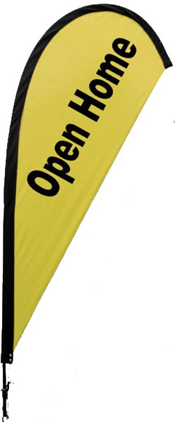 Yellow OPEN HOME Teardrop Flag