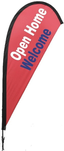 Red OPEN HOME WELCOME Teardrop Flag
