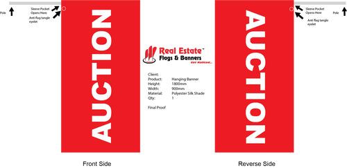 Double Sided AUCTION Hanging Banner Flag  Size: 1800mm (L) x 900mm (W). Colour: Red Wording: AUCTION Material: Polyester Silk Shade Stitched Rod Pocket: To suit 25mm diameter pole Pole is not included but can be supplied.