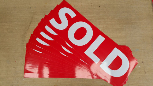 Generic in stock SOLD Stickers Size: 600x200mm Colour: Red Background (only) Font Colour: White (only)