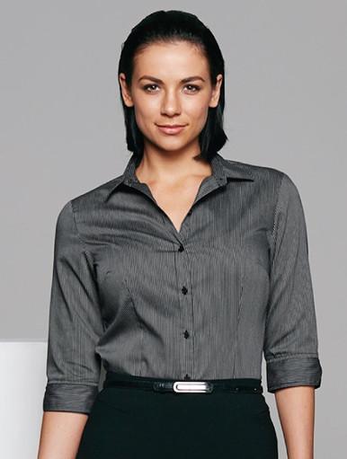 Lady Black/Silver Henley Shirt