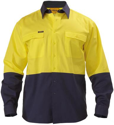 2 Tone Hi Vis Drill Shirt - Long Sleeve Yellow/Navy
