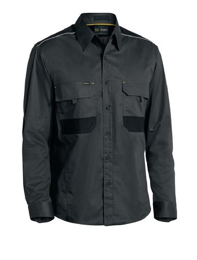 Bisley Flex & Move™ Mechanical Stretch Charcoal Long Sleeved Shirt
