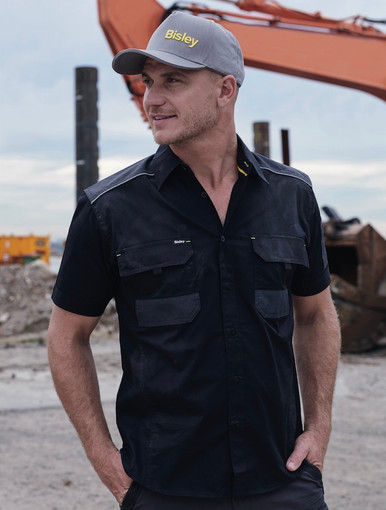 Bisley Flex & Move™ Mechanical Stretch Black Short Sleeved Shirt