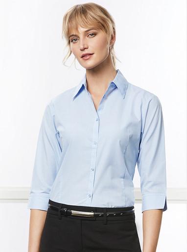 Ladies Micro Check  3/4 Sleeve Shirt