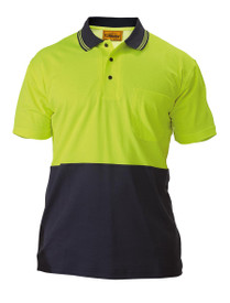 Hi Vis Yellow/Navy Cotton Backed S/S Polo Shirt