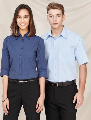 Biz Collection Micro Check Mens S/S Shirt