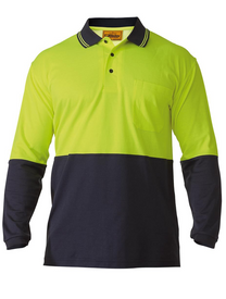 Hi Vis Cotton Backed Yellow/Navy Long Sleeved Polo Shirt
