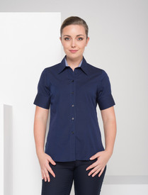 LSJ Ladies 1/2 Sleeve Navy End on End Shirt