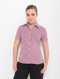 LSJ Ladies 1/2 Sleeve Gingham Check Shirt - Sleeves turned up