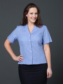 LSJ Ladies Short Sleeve Mini Check  Shirt