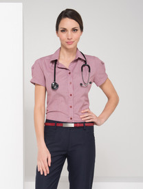 LSJ Ladies Short Sleeve Londsdale Check Shirt - Cherry