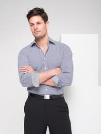 LSJ Mens Long Sleeve Black Gingham Check Shirt